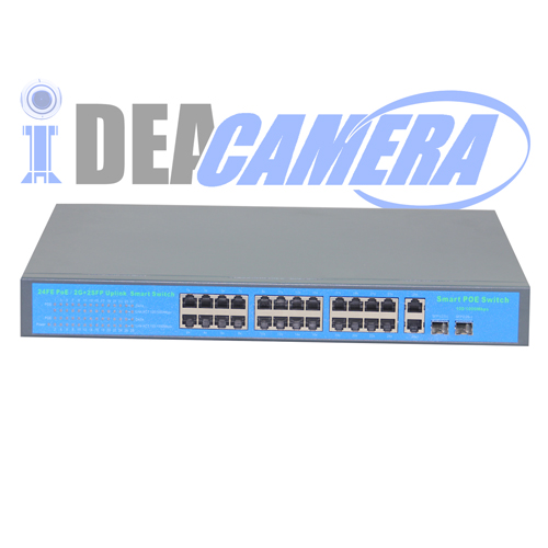 250W 24CH POE Switch,Power supply for 24pcs IP camera,Internal Power