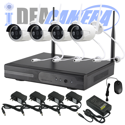 1MP Wifi NVR Kit, H.264 4CH P2P CCTV Kit, plug&play, Real-time Playback, Eseecloud App
