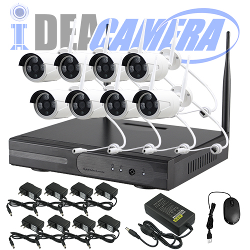 1MP Wifi NVR Kit, H.264 8CH P2P CCTV Kit, plug&play, Real-time Playback, Eseecloud App