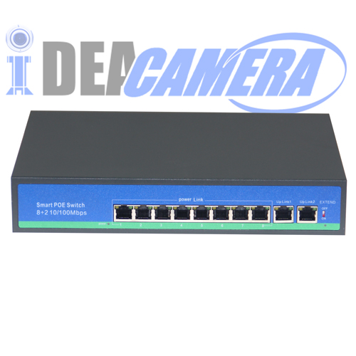 PoE Switch, 8CH 10/100Mbps PoE Switch for 8pcs IPC, 2pcs RJ45 Ports,Internal Power Supply