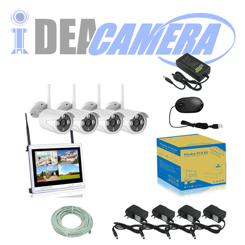 1.3MP Wifi NVR Kit, H.264 4CH P2P CCTV Kit with display, plug&play, Real-time Playback, Eseecloud App