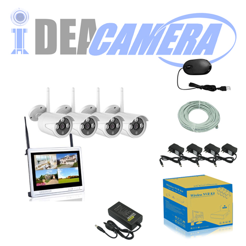 1MP Wifi NVR Kit, H.264 4CH P2P CCTV Kit with display, plug&play, Real-time Playback, Eseecloud App