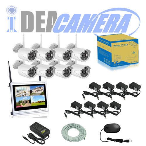 1.3MP Wifi NVR Kit,8CH P2P CCTV Kit with LCD Display,plug&play,Real-time Playback,Eseecloud App