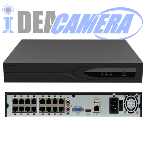 16CH H.265 HD NVR with 16ch POE,VSS Mobile App,Support face detection,Support 4K HD Video Output