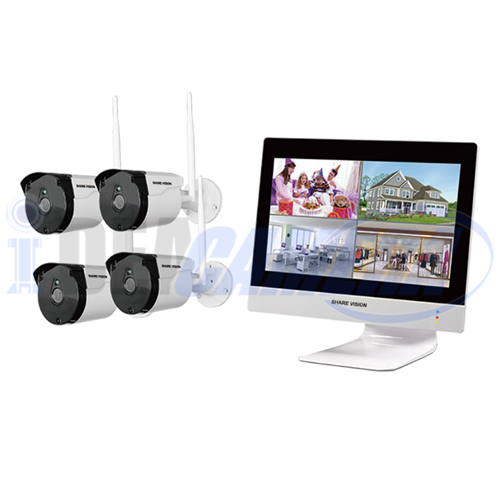 2MP 4CH 10.1-inch all-in-one wireless package with screen, EseeCloud APP, H.265 HD, Motion detection, P2P, Cloud storage.